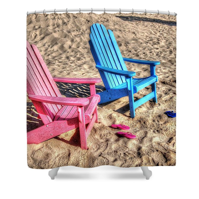 Alabama Shower Curtain Featuring The Digital Art Pink And Blue Beach Chairs With Matching Flip Flops