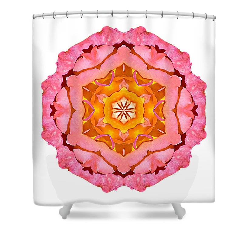 Flower Shower Curtain featuring the photograph Pink And Orange Rose I Flower Mandala White by David J Bookbinder