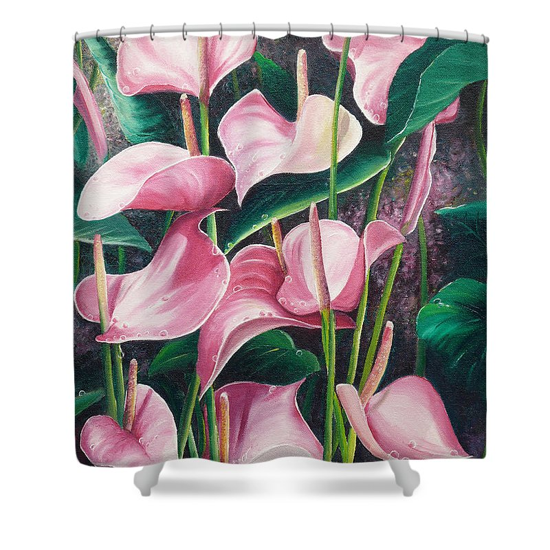 Floral Flowers Lilies Pink Shower Curtain featuring the painting Pink Anthuriums by Karin Dawn Kelshall- Best