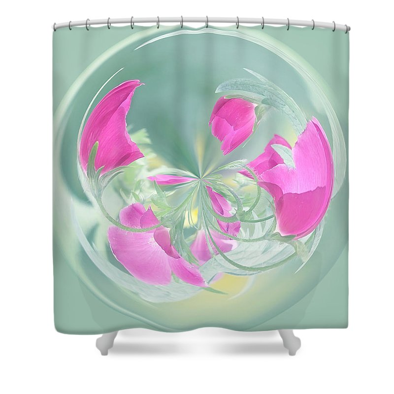 Orb Shower Curtain featuring the photograph Pink California Poppy Orb by Kim Hojnacki