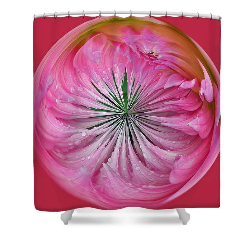 Pink Shower Curtain featuring the photograph Pink Dahlia Orb by Tikvah's Hope