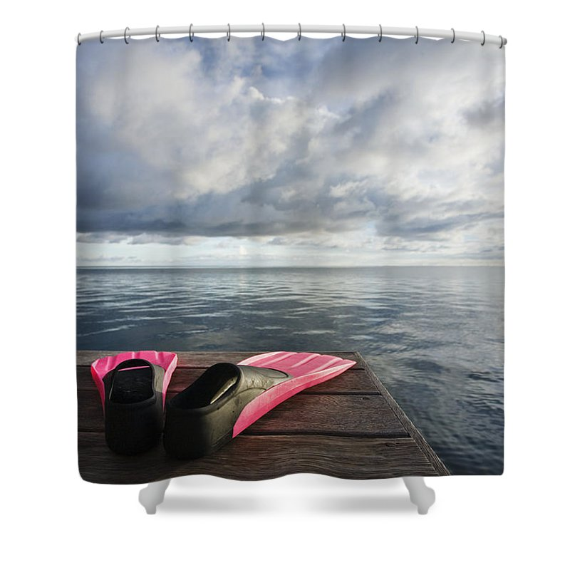 Adventure Shower Curtain featuring the photograph Pink Fins On Dock by M Swiet Productions