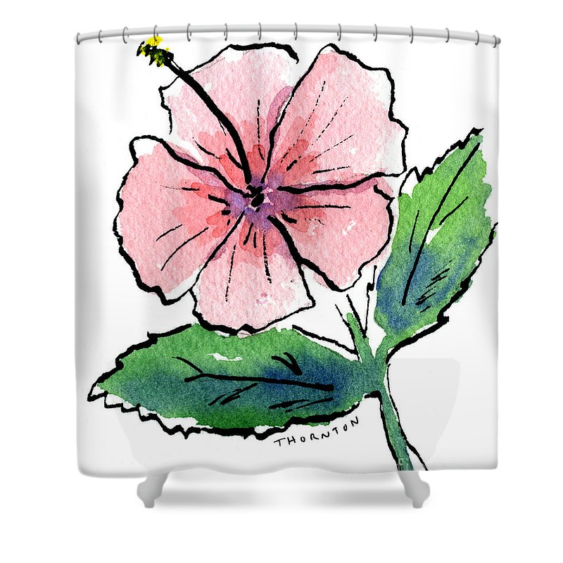 Hibiscus Shower Curtain featuring the painting Pink Hibiscus by Diane Thornton