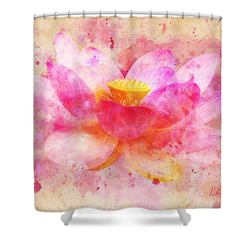 Lotus Shower Curtain Featuring The Digital Art Pink Flower Abstract Artwork By Nikki Marie Smith