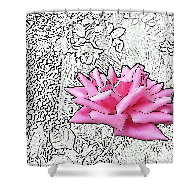 Rose Shower Curtain featuring the digital art Pink by Lovina Wright
