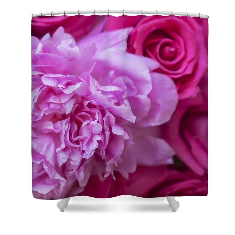 Pink Roses Shower Curtain featuring the photograph Pink Peonies And Pink Roses by Rich Franco