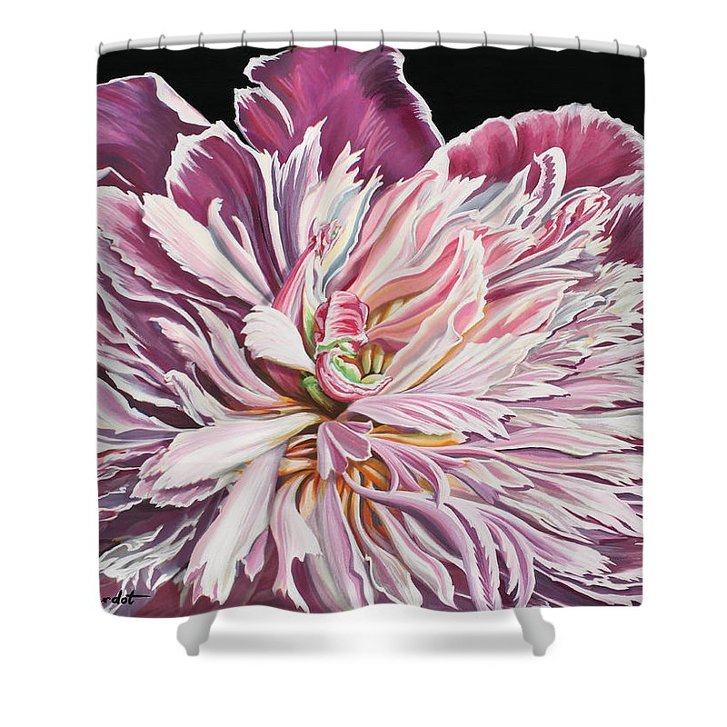 Flower Shower Curtain featuring the painting Pink Peony by Jane Girardot