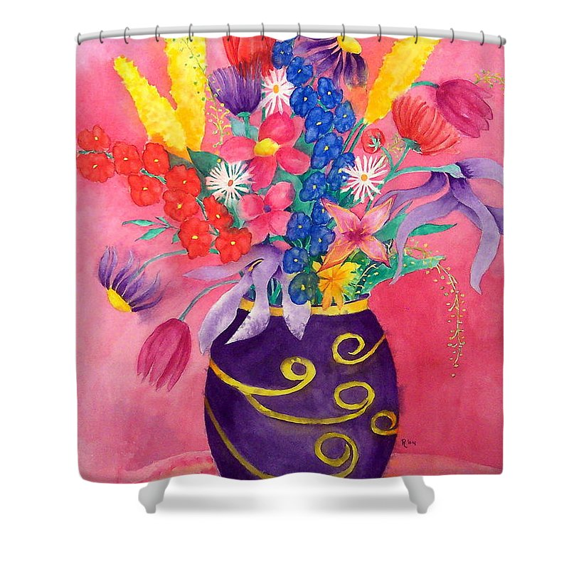 Pink Shower Curtain featuring the painting Pink Persuasion by Rhonda Leonard
