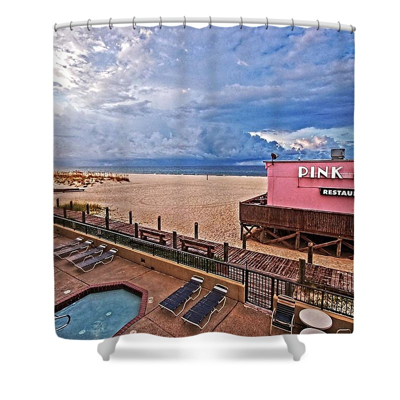 Palm Shower Curtain featuring the photograph Pink Pony And Approaching Storm by Michael Thomas