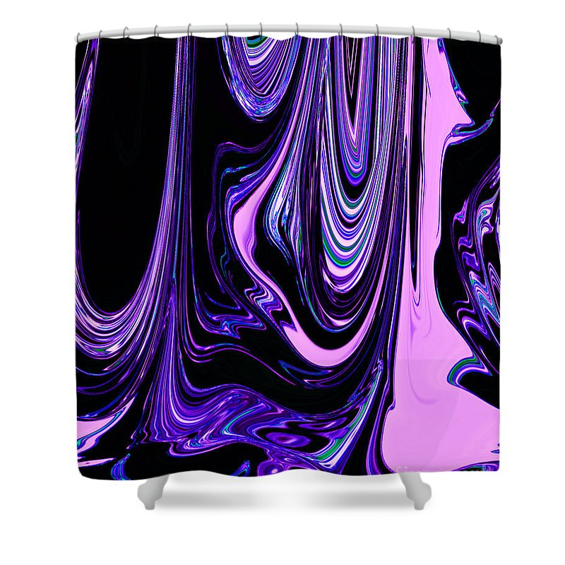 Pink Purple Black Colorful Ribbons Of Water Flowing Together Abstract Design Shower Curtain Featuring The Digital
