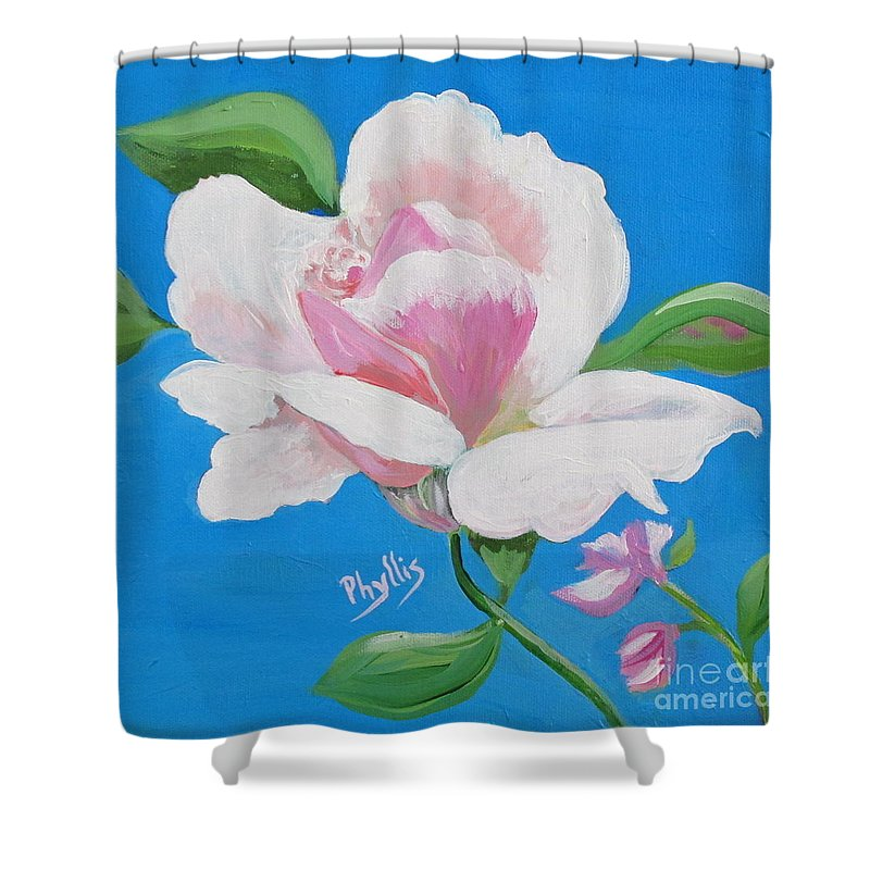 Pink Rose Shower Curtain featuring the painting Pink Rose In Paint by Phyllis Kaltenbach