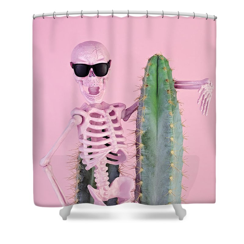 Cool Attitude Shower Curtain featuring the photograph Pink Skeleton With Cactus by Juj Winn