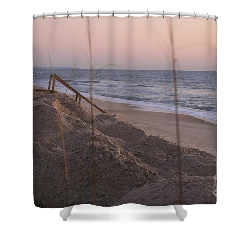 Pink Shower Curtain featuring the photograph Pink Sunrise On The Beach by Nadine Rippelmeyer