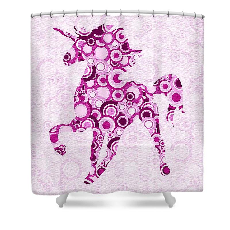 Malakhova Shower Curtain featuring the digital art Pink Unicorn - Animal Art by Anastasiya Malakhova