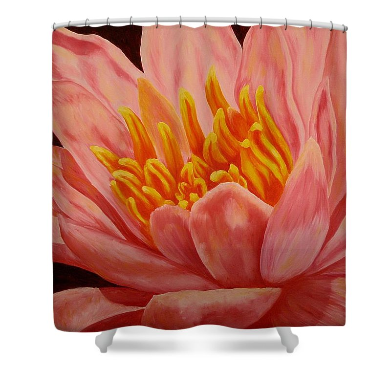 Oil Shower Curtain featuring the painting Pink Waterlily by Darla Brock