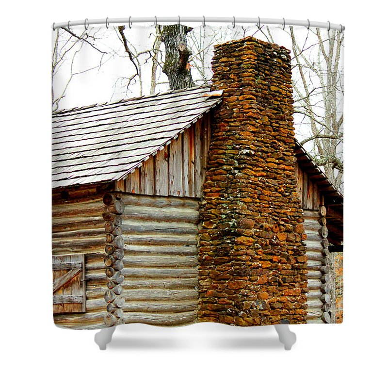 Pioneer Log Cabin Chimney Shower Curtain for Sale by Kathy White