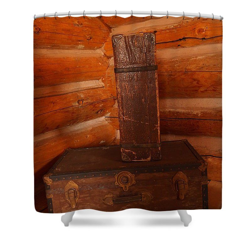 Luggage Shower Curtain featuring the photograph Pioneer Luggage by Jeff Swan