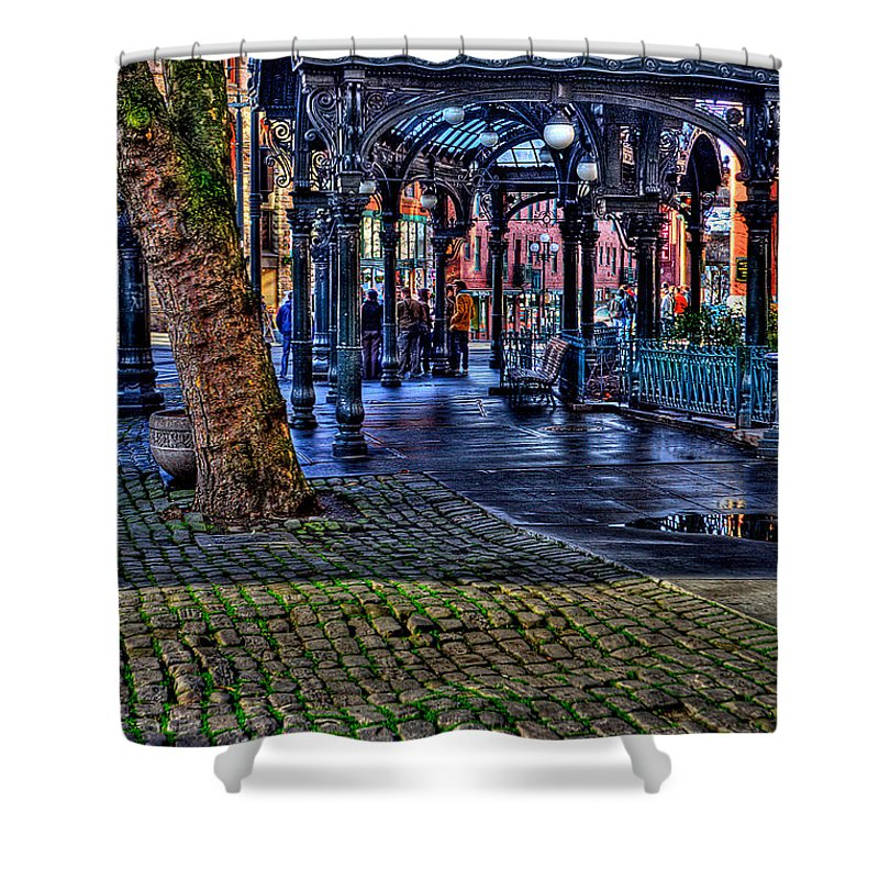The Pergola Shower Curtain featuring the photograph Pioneer Square In Seattle by David Patterson