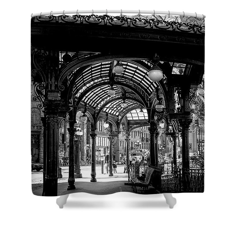 Black And White Shower Curtain featuring the photograph Pioneer Square Pergola by David Patterson