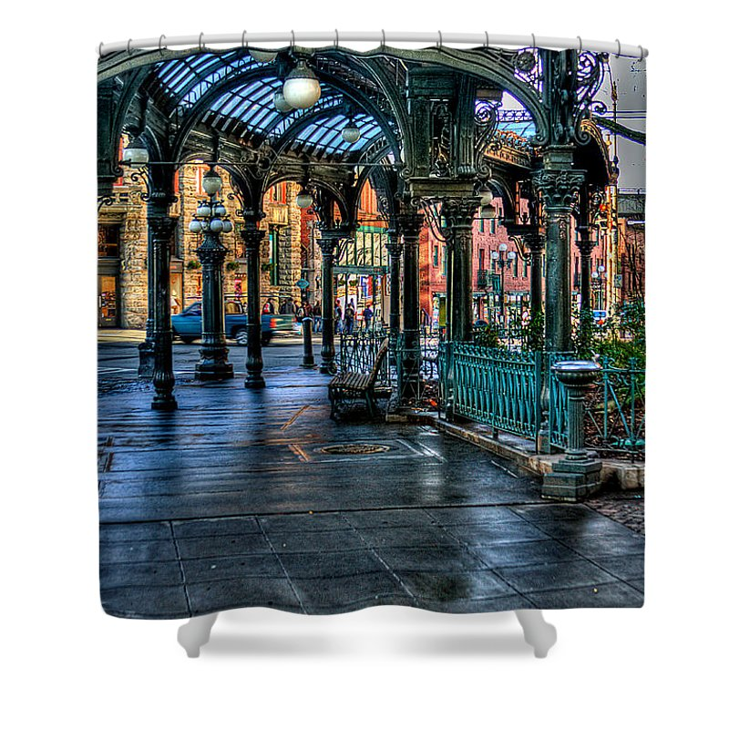 The Pergola Shower Curtain featuring the photograph Pioneer Square - Seattle by David Patterson