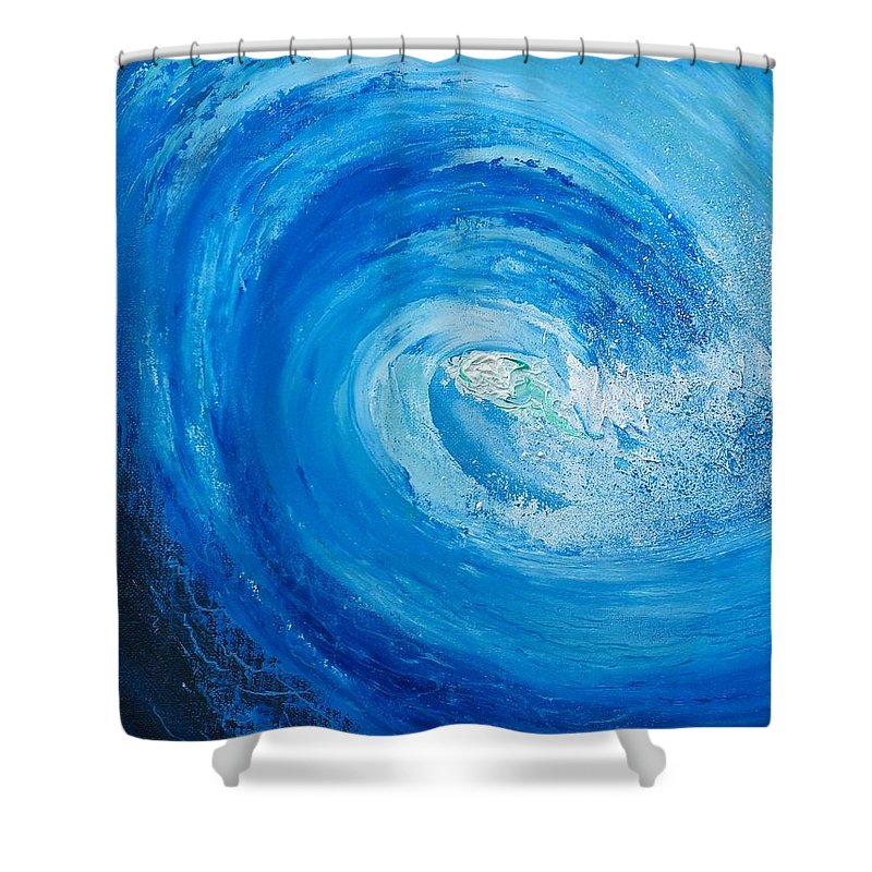 Pipeline. Blue Shower Curtain featuring the painting Pipeline No Way Out by Conor Murphy