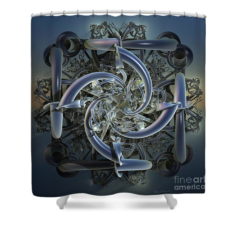Incendia Shower Curtain featuring the mixed media Pipes In Blue by Deborah Benoit