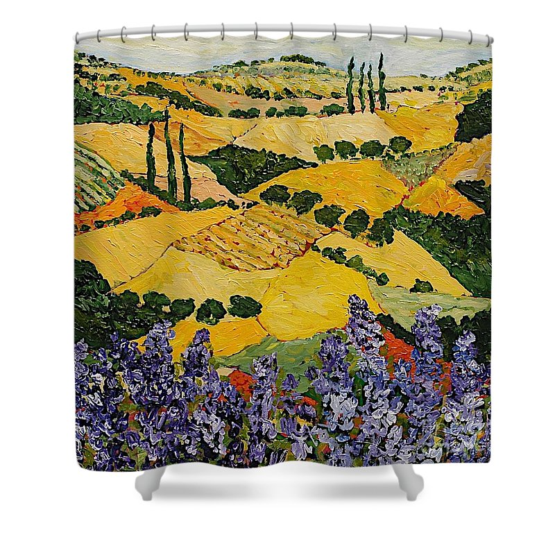 Landscape Shower Curtain featuring the painting Piping Hot by Allan P Friedlander