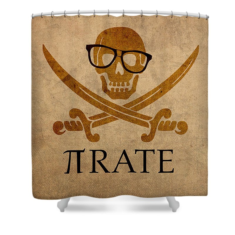 Pirate Math Nerd Humor Poster Art Pi Formula Shower Curtain Featuring The Mixed Media
