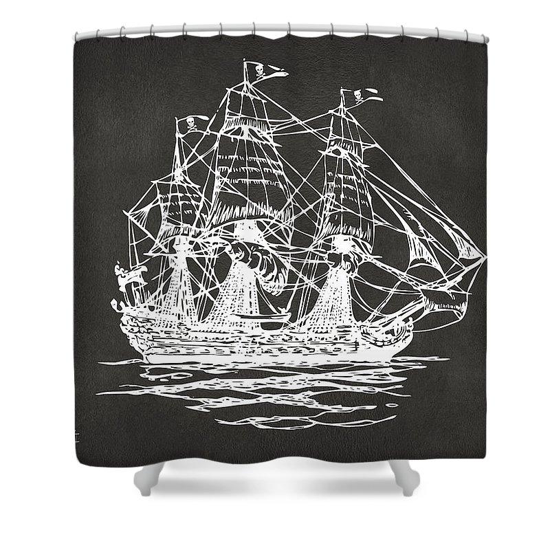 Pirate Ship Shower Curtain Featuring The Digital Art Artwork
