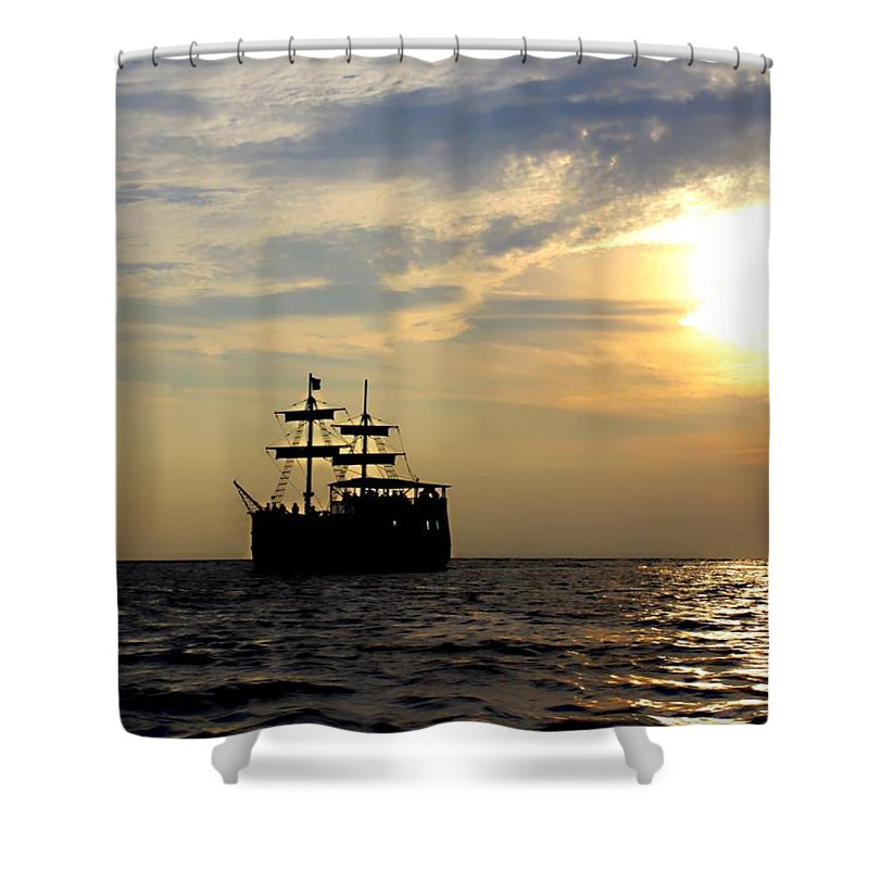 Pirate Ship Shower Curtain featuring the photograph Pirate Ship At Sunset by Debra Forand