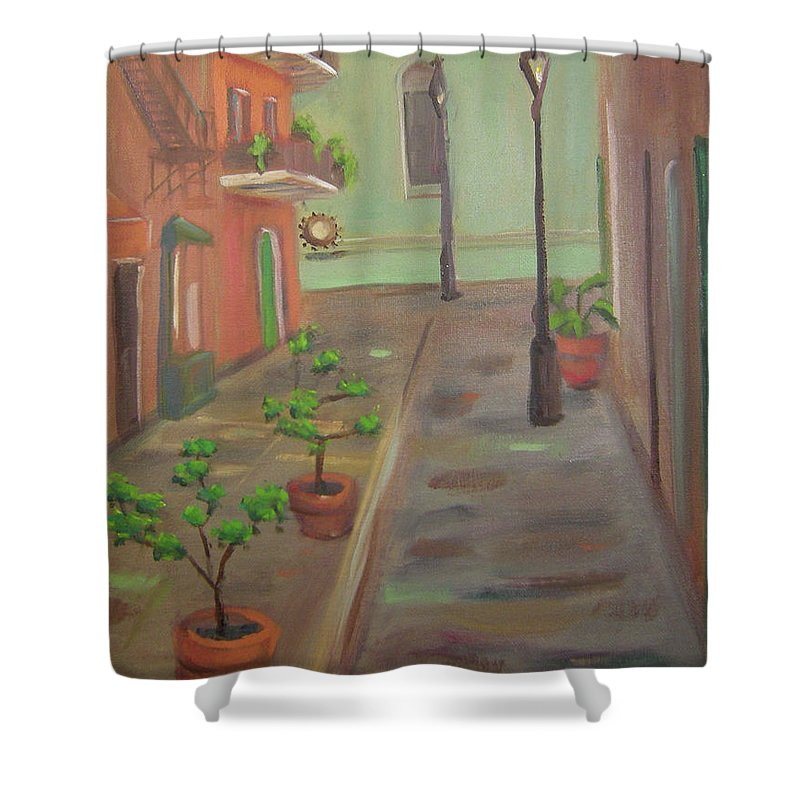 New Orleans Shower Curtain featuring the painting Pirates Alley by Lilibeth Andre