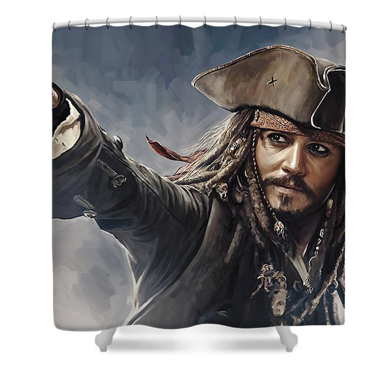 Pirates Of The Caribbean Paintings Shower Curtain Featuring Painting Johnny Depp