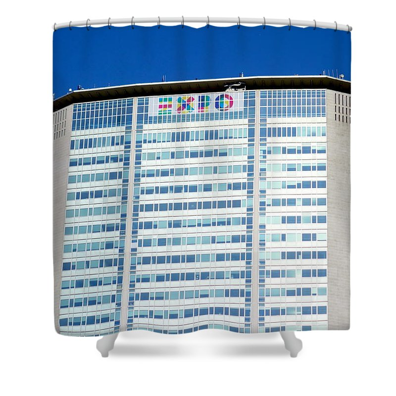 2015 Shower Curtain featuring the photograph Pirelli Building by Valentino Visentini