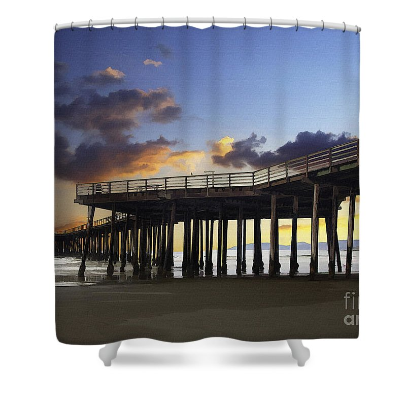Pismo Pier Shower Curtain featuring the digital art Pismo Pier by Sharon Foster