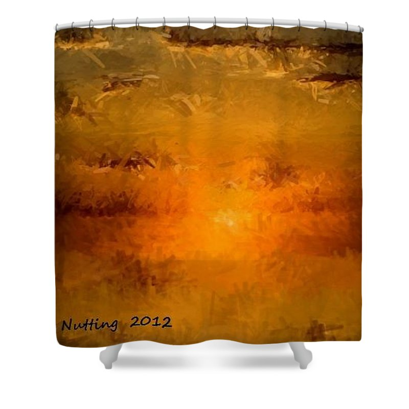 Sunset Shower Curtain featuring the painting Pissaro Sunet by Bruce Nutting