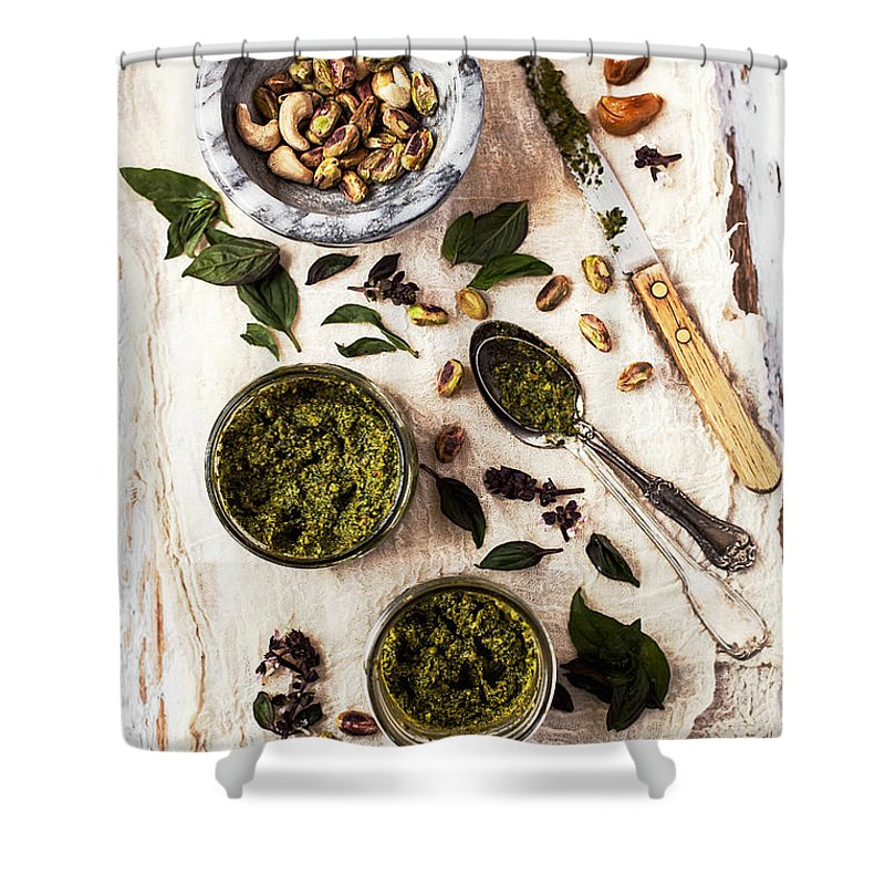 San Francisco Shower Curtain featuring the photograph Pistachio Pesto With Mortar, Jars And by One Girl In The Kitchen