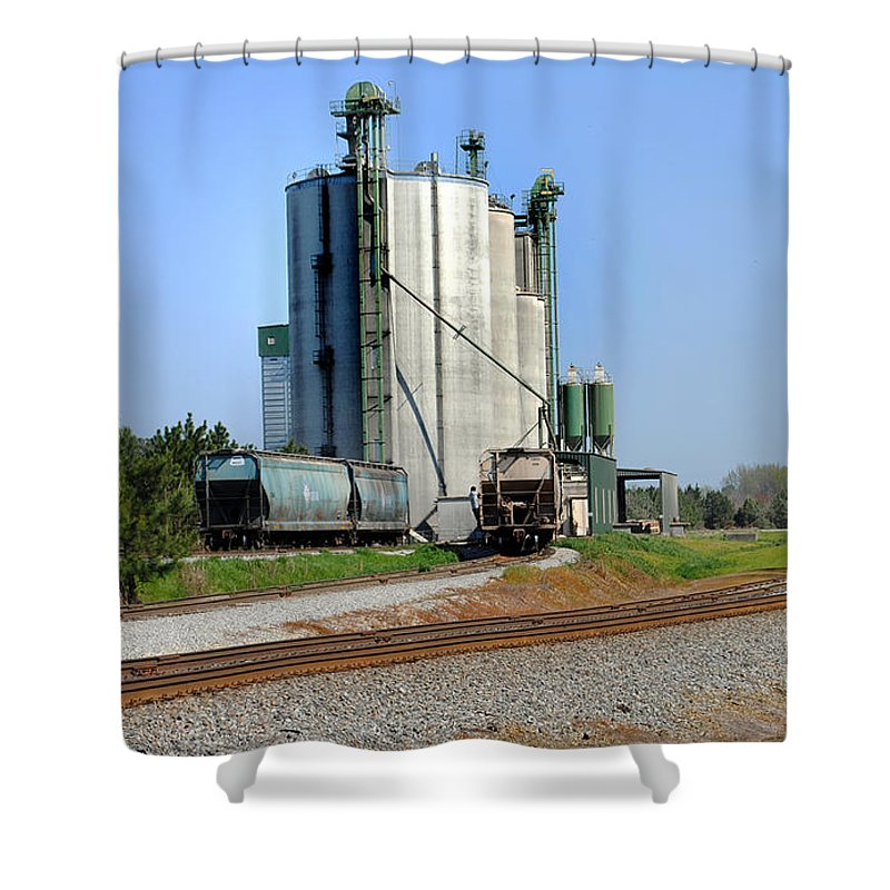Railroad Tracks.railroad Photos Shower Curtain featuring the photograph Pit Stop by Skip Willits
