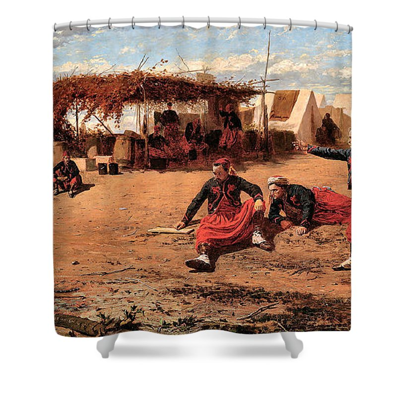 Winslow Homer Shower Curtain featuring the digital art Pitching Quoits by Winslow Homer