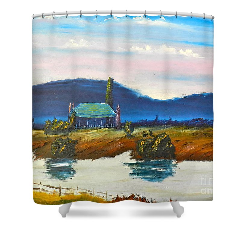 Impressionist Shower Curtain featuring the painting Pittown by Pamela Meredith