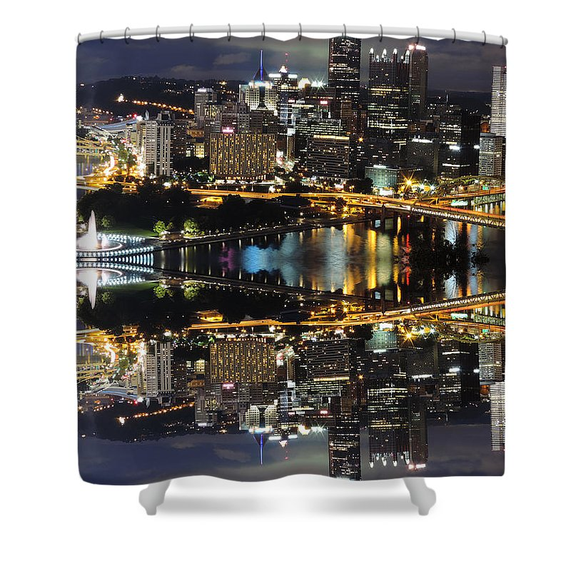 City Shower Curtain featuring the photograph Pittsburgh Dusk Reflection 2 by Cityscape Photography