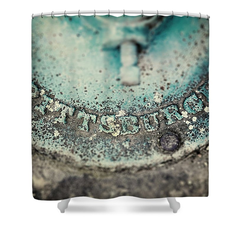 Pittsburgh Shower Curtain featuring the photograph Pittsburgh In Teal Relief On A Vintage Water Pump by Lisa Russo