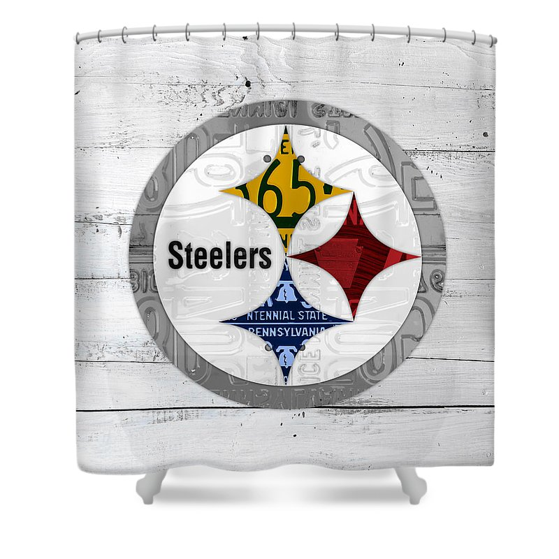 Pittsburgh Shower Curtain Featuring The Mixed Media Steelers Football Team Retro Logo Pennsylvania License Plate