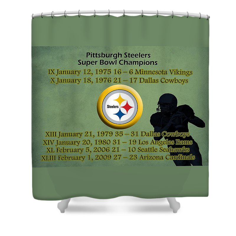 Pittsburgh Steelers Shower Curtain Featuring The Digital Art Super Bowl Wins By Movie Poster