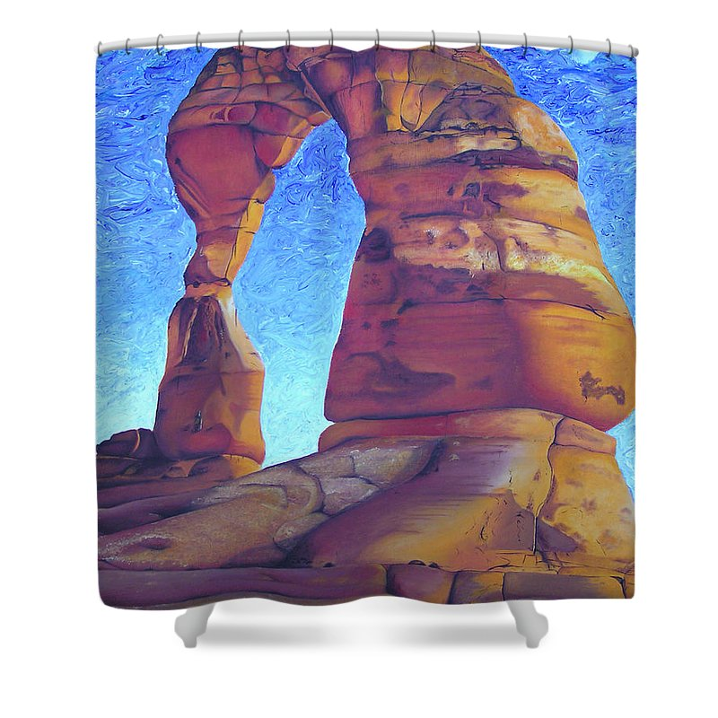 Moab Shower Curtain featuring the painting Place Of Power by Joshua Morton