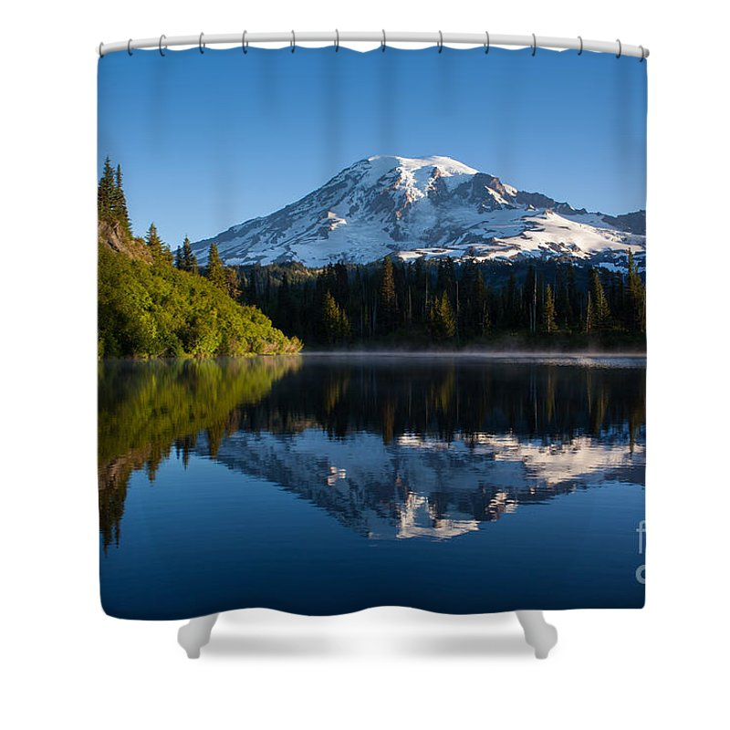 Mount Rainier Shower Curtain featuring the photograph Placid Reflection by Mike Reid