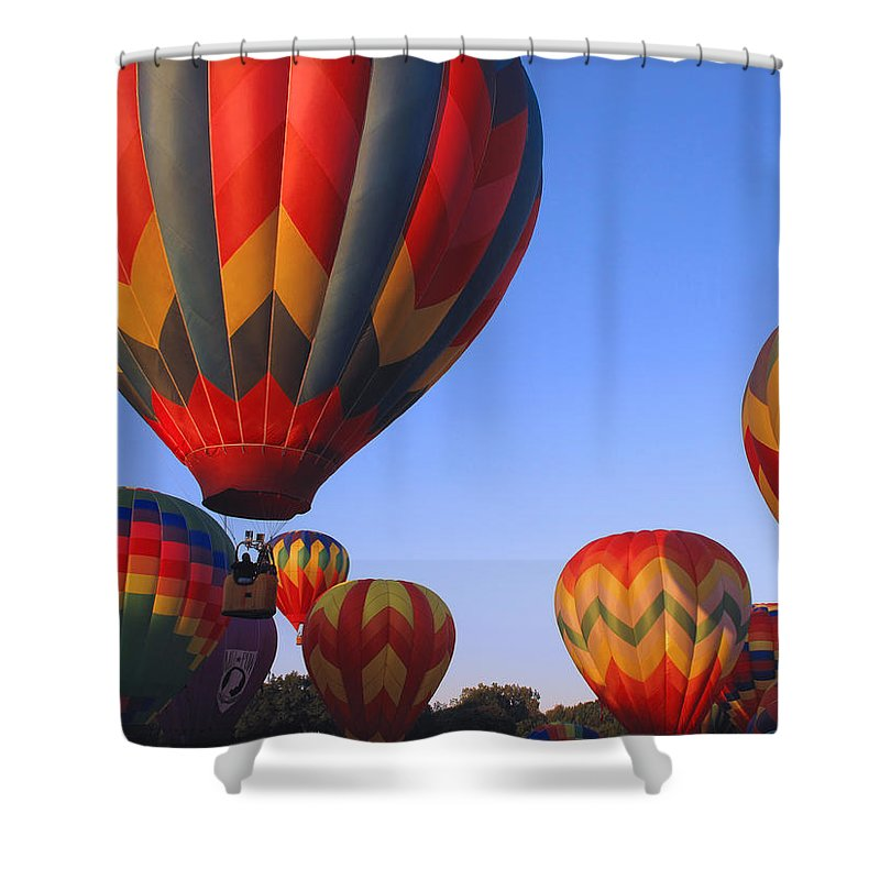 hot Air Balloons Shower Curtain featuring the photograph Plainville Hot Air Balloon Fesitval by Barbara McDevitt