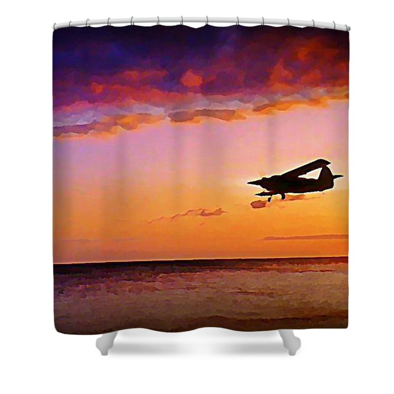 Plane Shower Curtain featuring the painting Plane Pass At Sunset by John Malone