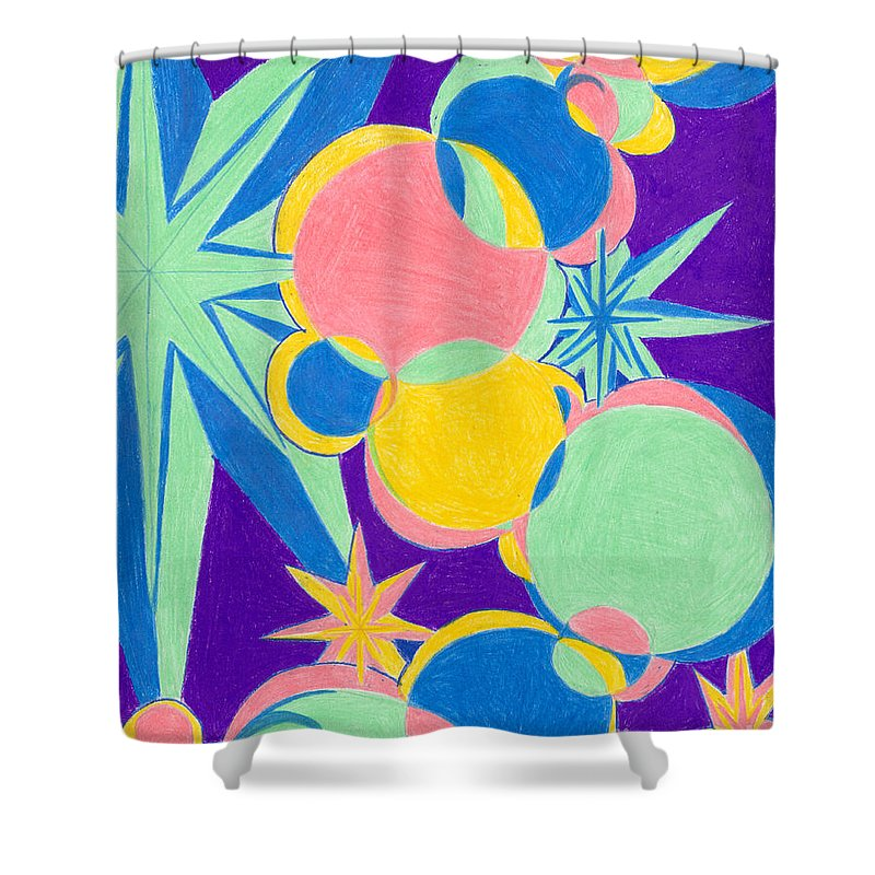 Color Shower Curtain featuring the drawing Planets And Stars by Kim Sy Ok