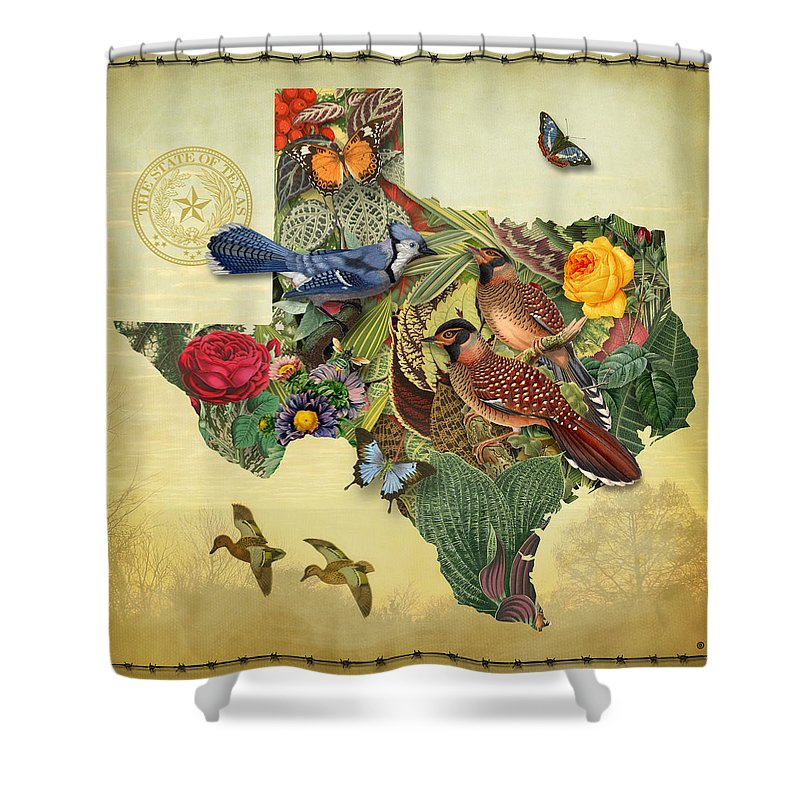 Maps Shower Curtain featuring the painting Nature Map of Texas by Gary Grayson