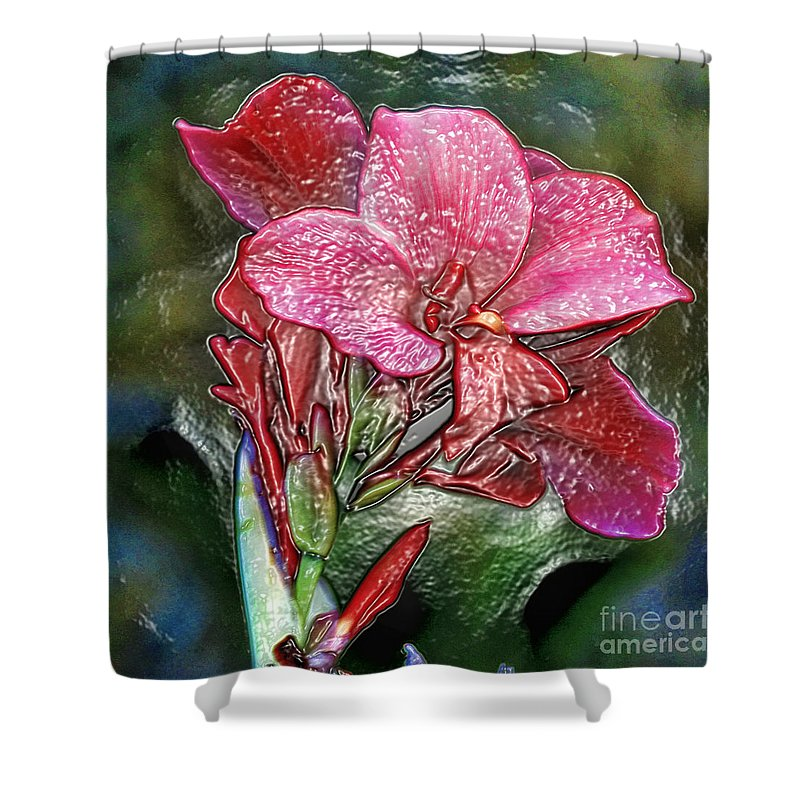 Flower Shower Curtain featuring the photograph Plastic Wrapped Pink Flower By Diana Sainz by Diana Raquel Sainz